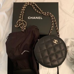 NWT CHANEL Caviar Quilted Round Bag